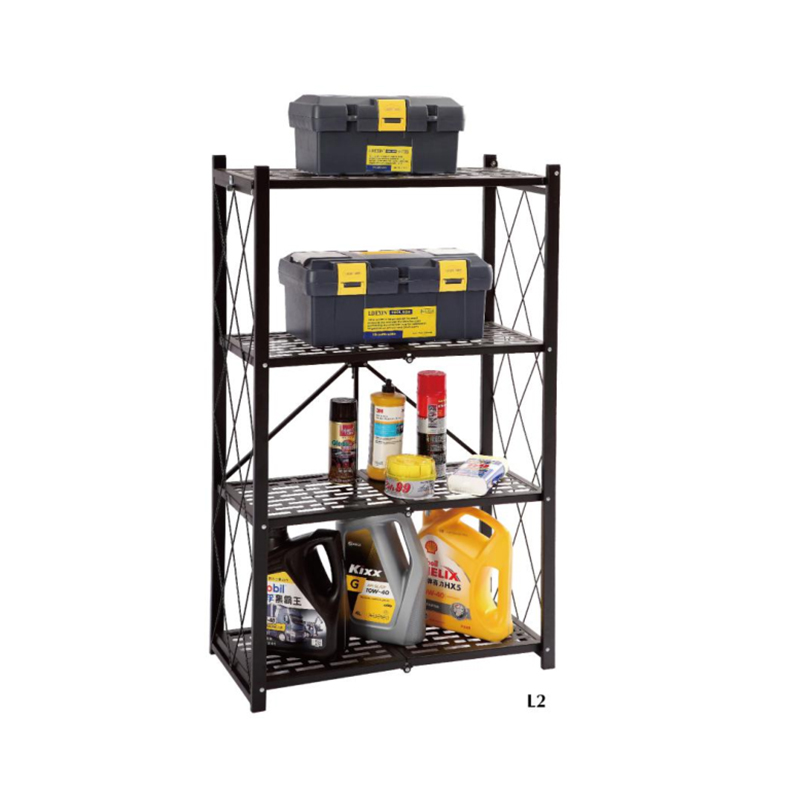 Folding 4 tier storage <strong>rack</strong> beside shelf