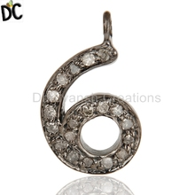 Handmade Number Charm Pendant 925 Sterling Silver Pave Diamond Jewelry Finding Supplier