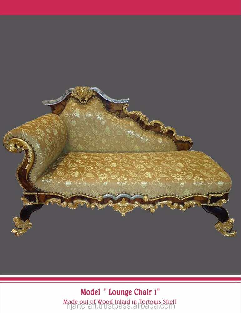Home Furniture Shell Ornamented Antique Wooden Lounge Chair