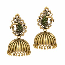 Traditional Party Wear Oxidised Gold Plated Handmade Jhumka Jhumki Earrings