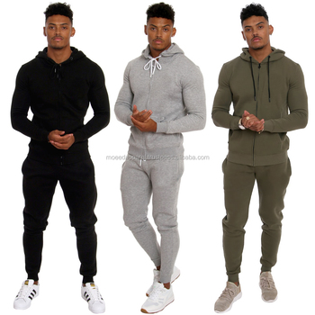 Cotton Fleece Tapered fit Gym Tracksuits Zipper Hoodies and Skinny fit Jogger Sweatpants