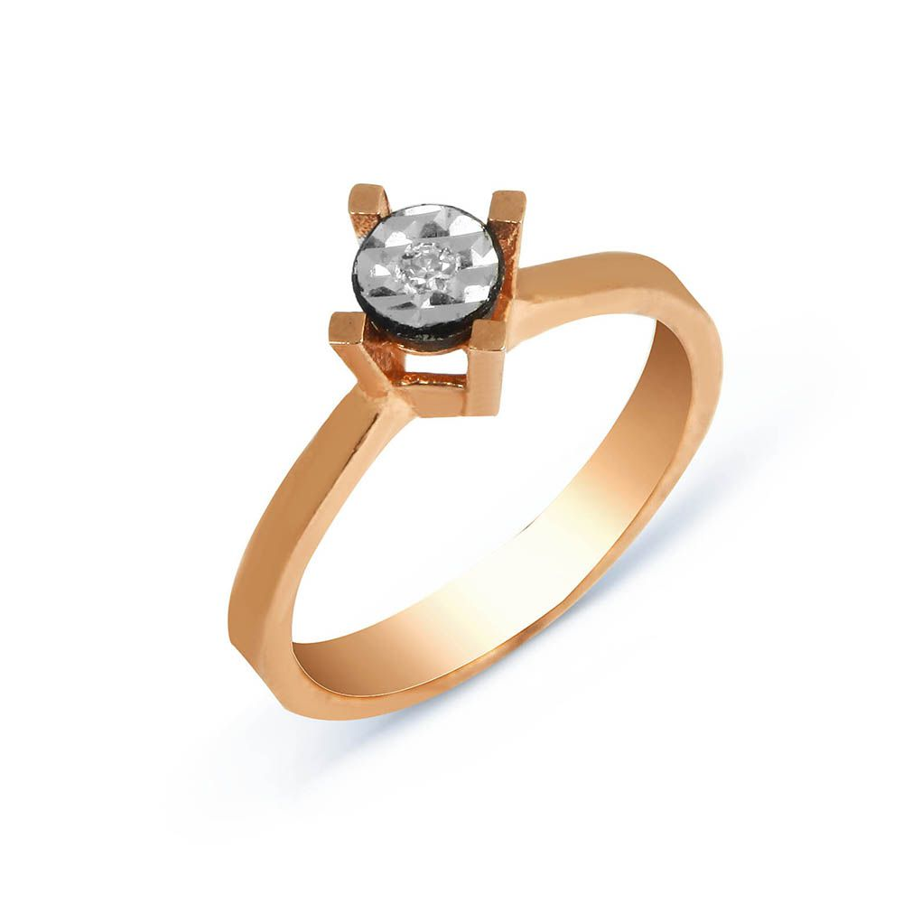 Solitaire Gold Ring With 0,02 CT Diamond