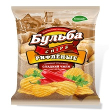 "Chips from natural potatoes ""BULBA chips"" corrugated with a taste of sweet chili"