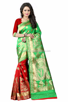 Women's Embellished Woven Art Silk Green & Red Designer Saree for Women, Suit in Every Occasion