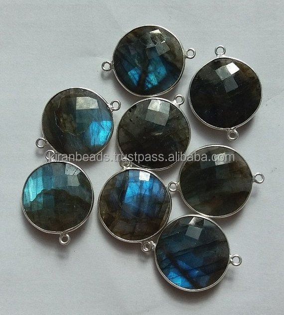 Natural Blue Flash Labradorite Connector - 925 Sterling Silver Connector -Connector Size 15mm