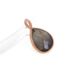 Attractive Look !! Sarrah Natural Labradorite Gemstone 925 Sterling Silver Rose Gold Plated,Wholesale Jewelry Bezel Set Pendant