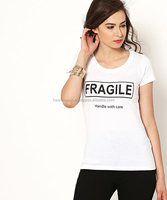 cheap slim fitting individual design OEM women organic cotton t-shirt manufacture by Hawk Eye Co.