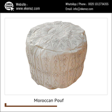 Stylish High Quality Moroccan Leather Pouf Ottoman Footstool