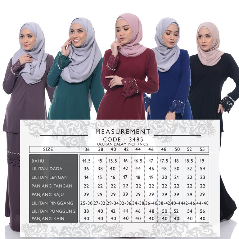 Muslimah Clothing Atiliya Beads & Lace Kurung