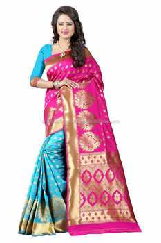 Women's Embellished Woven Art Silk Pink & Sky Blue Designer Saree for Women, Suit in Every Occasion