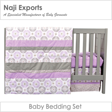 Baby Crib Bedding Sets 100% Soft Cotton. With low MOQ high quality Crib Sheet, Blanket, Bumpers, Skirt, Rail Guards.