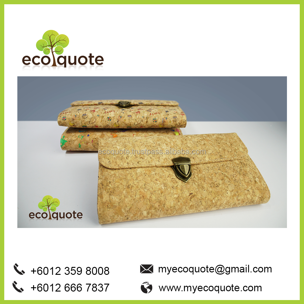 EcoQuote Eco-Friendly Vegan Handmade Cork Material Woman Clutch Wallet Sling Bag