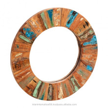 Reclaimed Wood Round Mirror Large