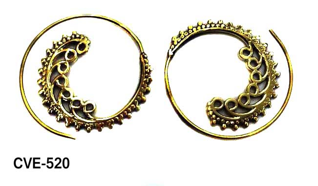 Crafty12 New Antique Elegant Dainty Bird Of Paradise Pure Brass Spiral Tribal Boho Hoop Earrings.