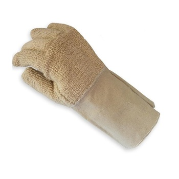 Gauntlet Extend Cuff Double Layers Heat Protection Thermal Cotton Gloves