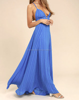 ELEVATE BLUE EMBROIDERED MAXI DRESS #RCTD3192