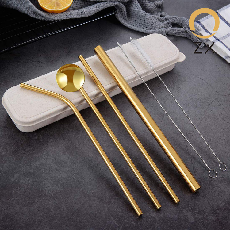 18/10 stainless steel metal inox 6mm eco-friendly spoon straw with wheat box