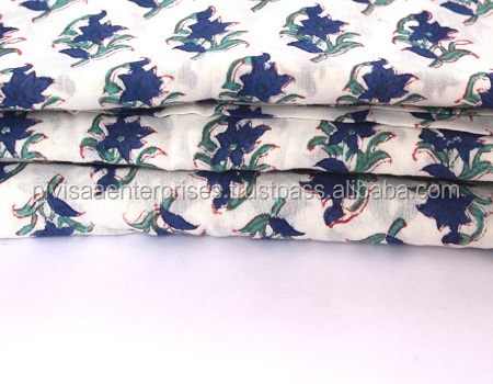Indian Hand Block Printed Natural Jaipuri Floral Print Clothing cotton Fabric