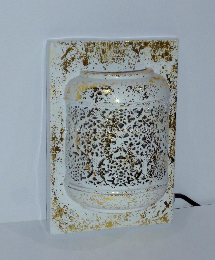 Half Moroccan wall art with led gold foil texture
