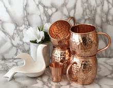 Hot Selling Wholesale Set of 4 Hand Hammered Moscow Mule Pure Copper Mug with Shot Glass