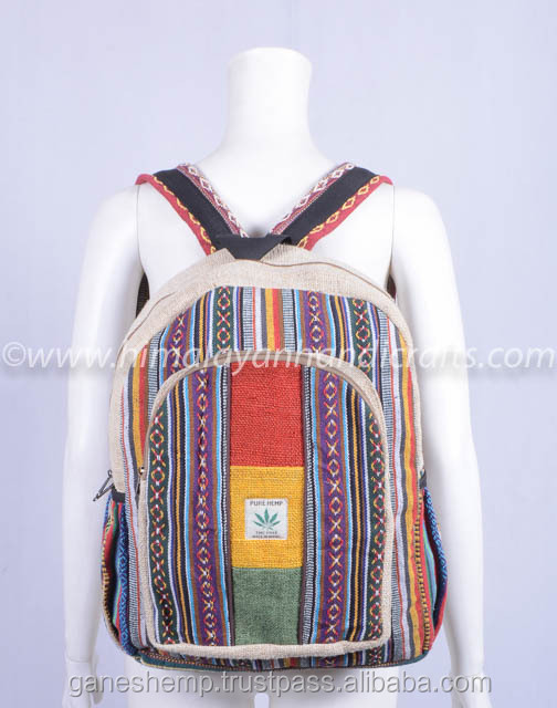 Handmade natural hemp backpack Aztec pattern Cotton Canvas Unisex School Bag HBBH 0080
