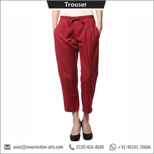 2017 Ladies Latest Trousers Designs Cotton Linen Maroon Woman Trousers