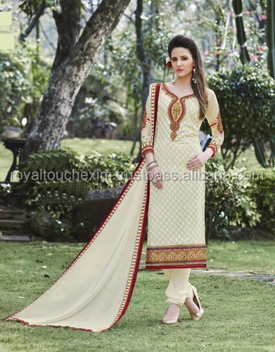 Cream Georgette Brasso Embroiderd semi-stitched Dress Material semi-stitched designer salwar kameez Salwar Suit