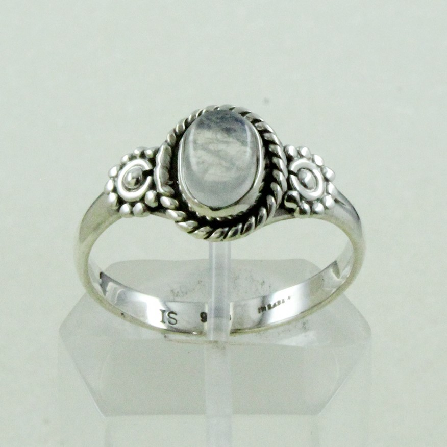 925 Sterling Silver Tiny Rainbow Moon Gem Stone Ring Jewelry Supplier India