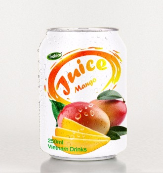 Mango juice in special 250 ml short can from VietNam-VietNam Manufacturer-OEM Fruit Juice-From Trobico Brand