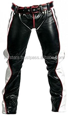 REAL BLACK RED & WHITE LEATHER HEAVY DUTY BONDAGE PANTS JEANS BLUFF GAY R2 REGULAR