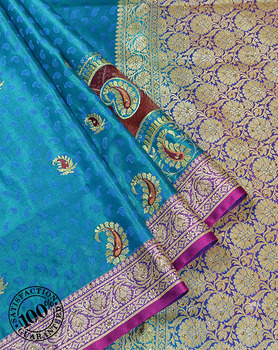 Banarasi Sarees Exporter in Varanasi India Sky Blue Art Silk Paisley Thread and Zari Weaving Banarasi Saree