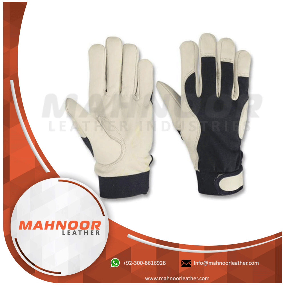 Polyester Leather Palm Work Gloves