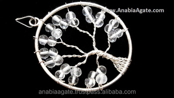 Crystal Tree Of Life Metal Pendant