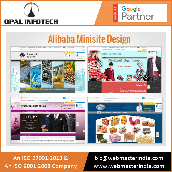 Mini Site Design and Development On Alibaba from India Since 1998