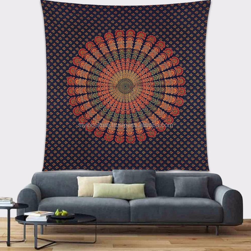 Indian Dark Blue Bohemian Printed 100% Cotton Wall Decor Hippie Queen Mandala Wall Hanging Wall Tapestry
