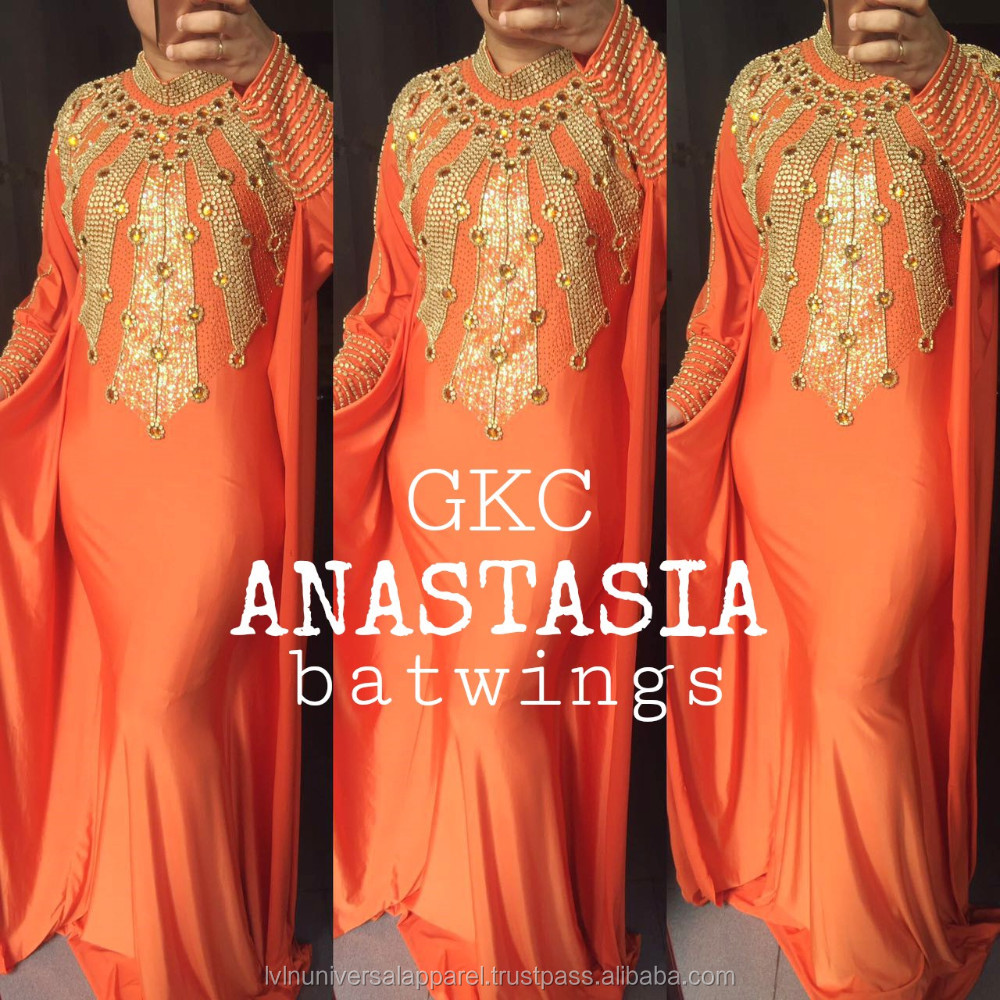 GKC-Anastasia Orange Gold Beads High Neck Long Sleeve African Style Muslim Prom Formal Gown Morrocan Kaftan Dubai Abaya Evening