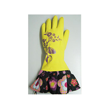 Multipurpose PU Coated Yellow Safety Hand Gloves With Flowers Cuff
