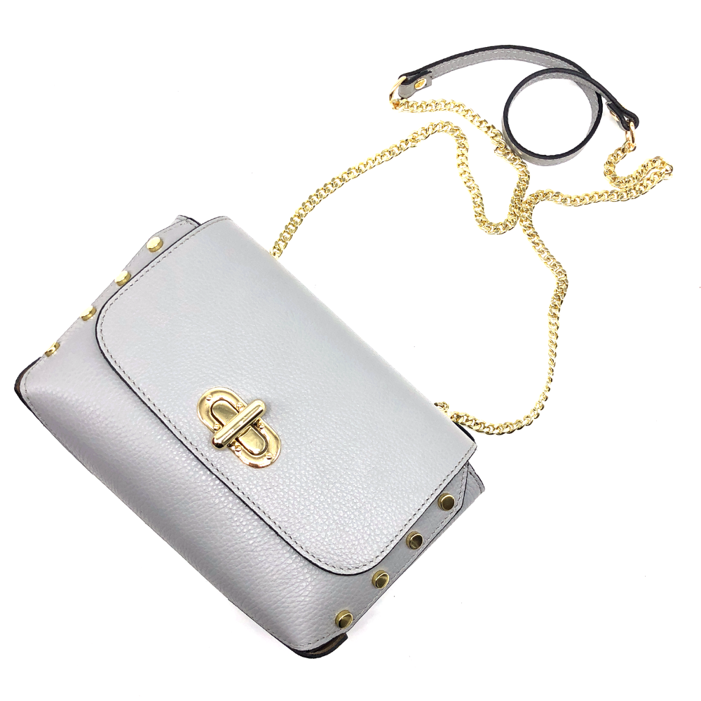 Silver Gray Mini Women Leather Shoulder bags Crossbody bag with Long Chains