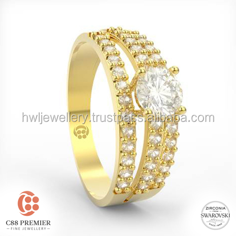 Glorious Trio Ring gold jewellery designs for girls