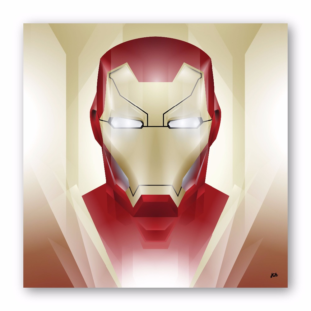 Modern Digital Art Superhero Iron Man Printed on High Quality Photo Paper for Wall Decoration