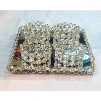square crystal tray with beads bowl