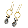925 Sterling silver black onyx dendrite opal gemstone gold plated ear wire dangle earrings