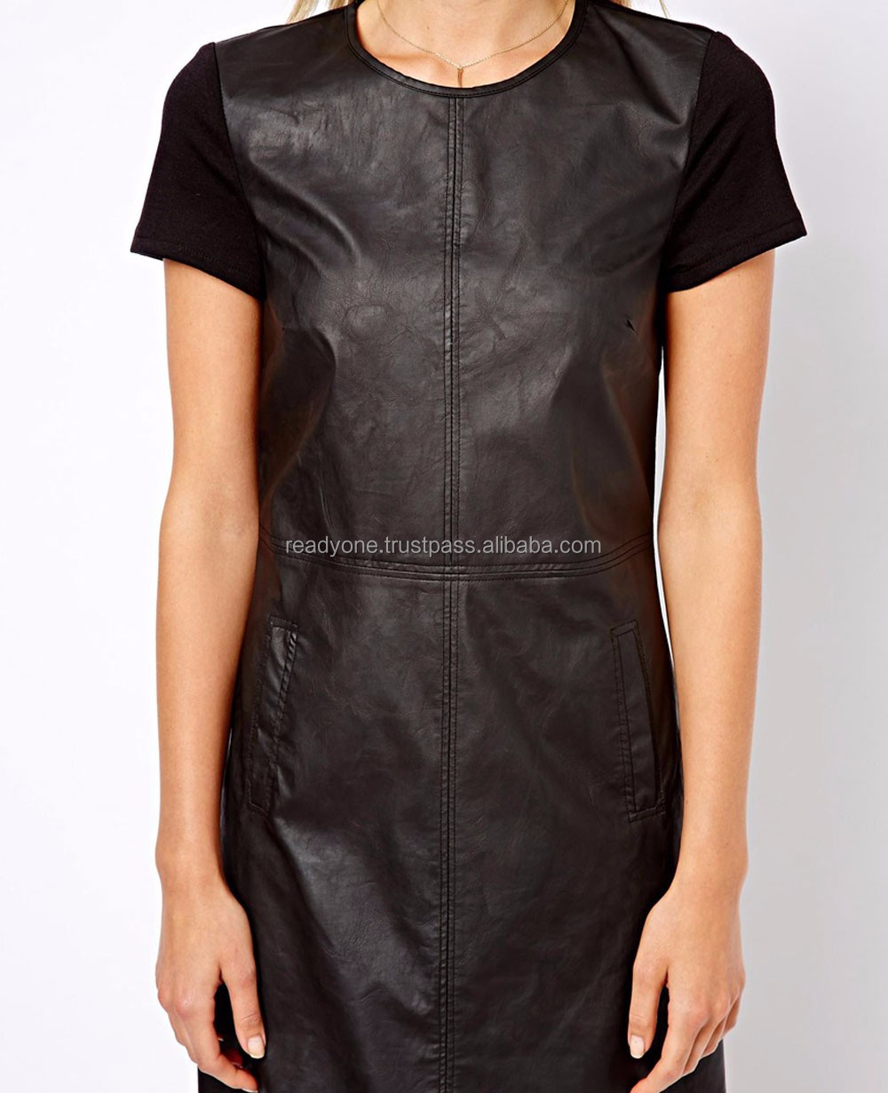 Wholesale Black Women Long Short Zipper Leather Dress