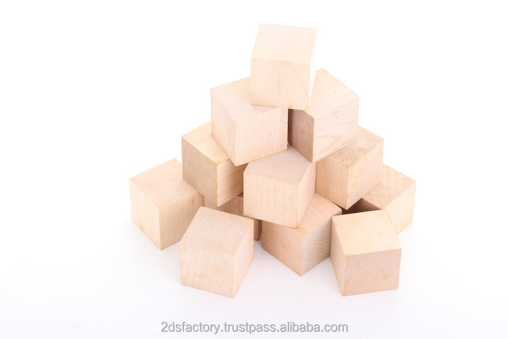 Wooden toy Blocks cube natural/coloured for Children HIgh quality