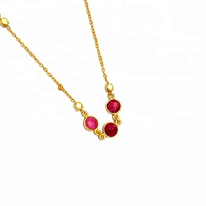 Gold Plated Sterling Silver Round Ruby Chain necklace Jewelry
