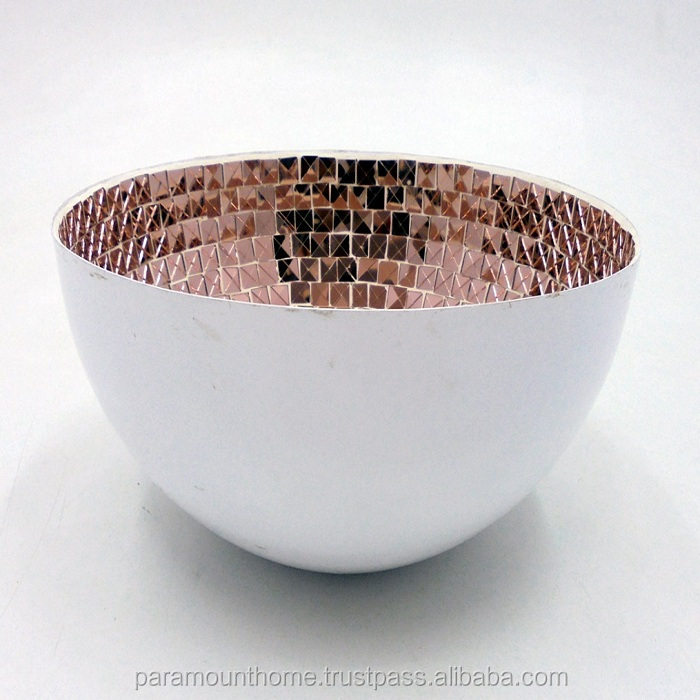 Decorative Round Bowl With Copper Mosaic White Powder Coated Finish