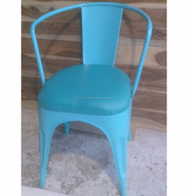 Cafeteria Chair With Leather Seat, Cheaper Vintage Industrial Metal Chair For Dining Cafe Furniture