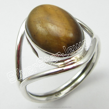 Buy Handmade Gemstones Jewellery Wholesaler 925 Pure Sterling Silver Genuine TIGER'S EYE Bestseller Rings Size 9 JEWELRY