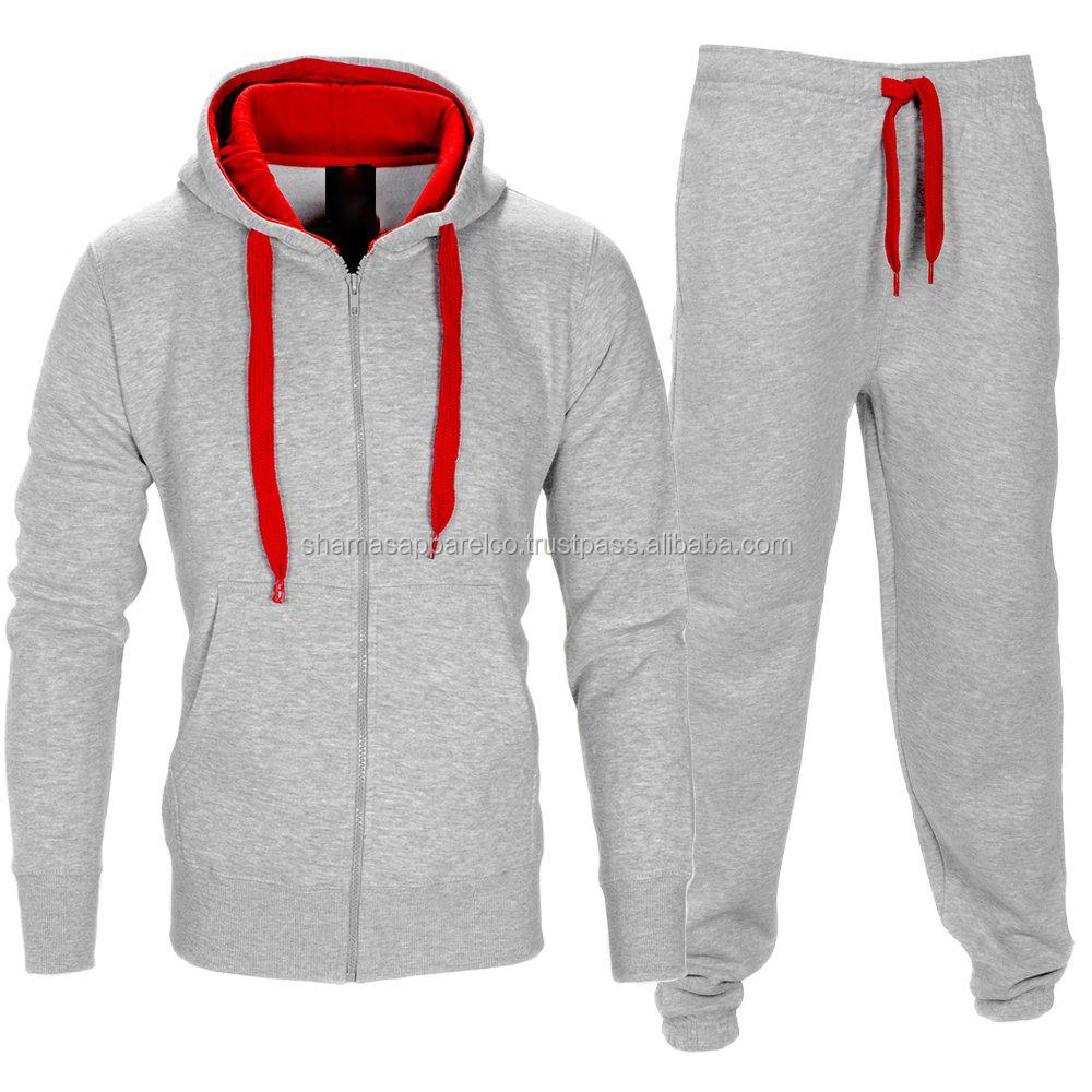 Men Tracksuit Fleece Hoodie Zipper Top Bottoms Joggers Gym Trackies Jogging