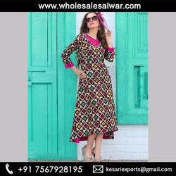 Pink Heavy Cotton Office Wear Printed Work Kurti - Cotton Printed A Line Kurtis Wholesale Collection